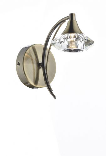 Luther Single Wall Bracket complete with Crystal Glass Antique Brass (Double Insulated) BXLUT0775-17